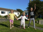 Abi, Jess and Izzy walking together