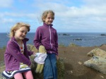 Jess, Daisy and Abi at Lizard Point