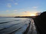 Sunset over the coastal railway